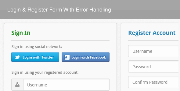 Login & Register Form With Error Handling - CodeCanyon Item for Sale