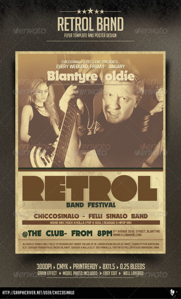 Retrol Flyer Template - Concerts Events