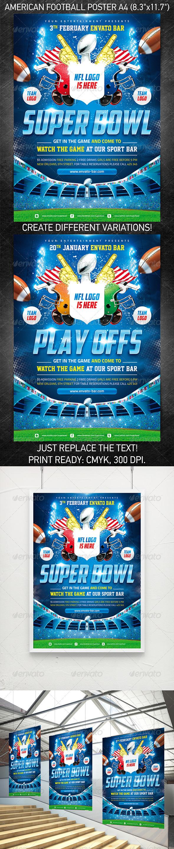 GraphicRiver American Football Super Bowl poster 3762931