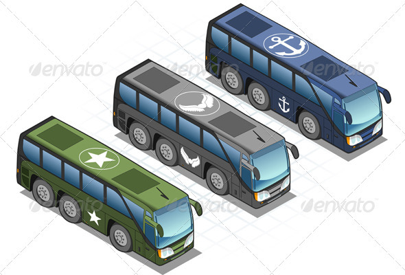 GraphicRiver Isometric Set of Military Buses 3838306
