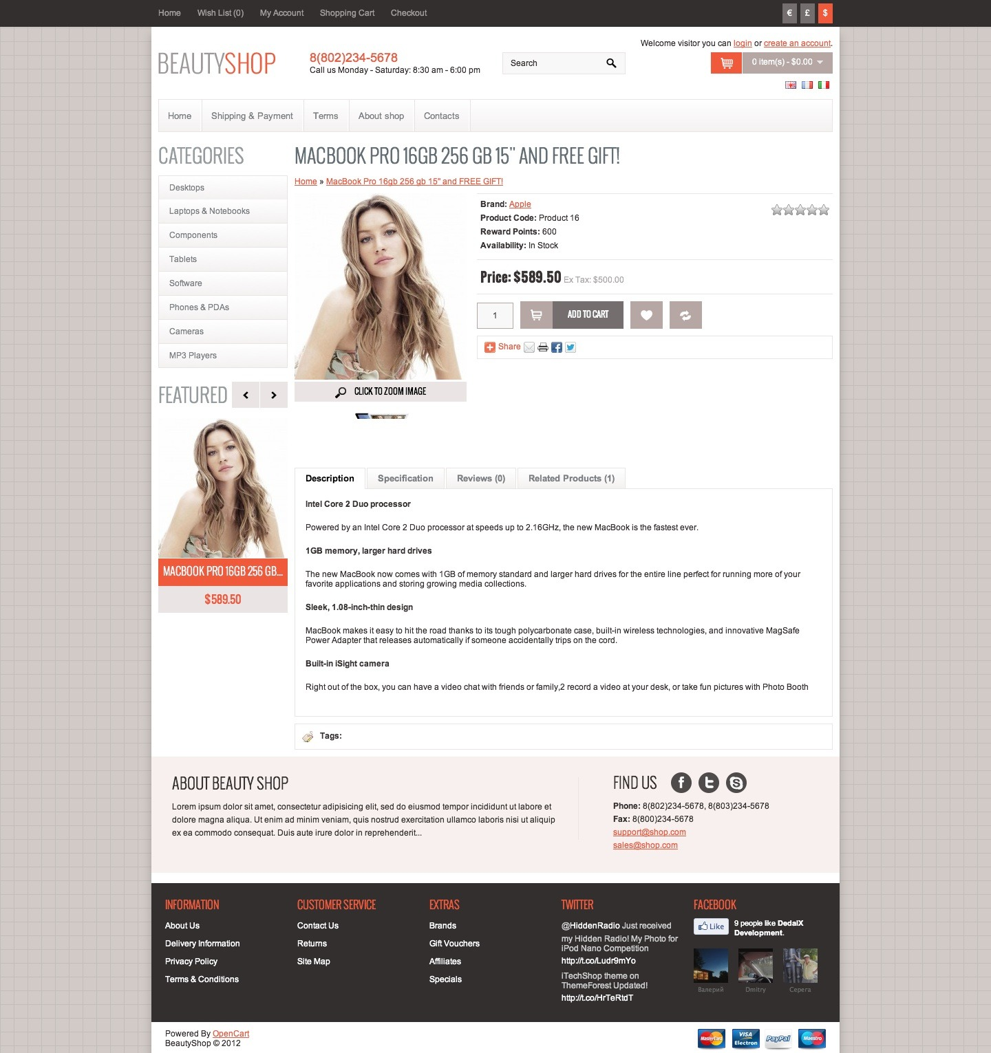 BeautyShop - Premium OpenCart theme
