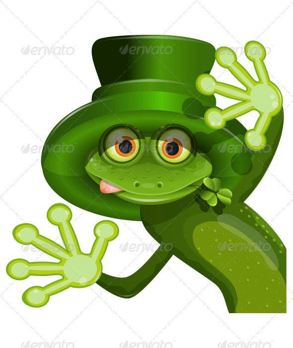 GraphicRiver Green frog wearing a hat of Saint Patrick 3840530