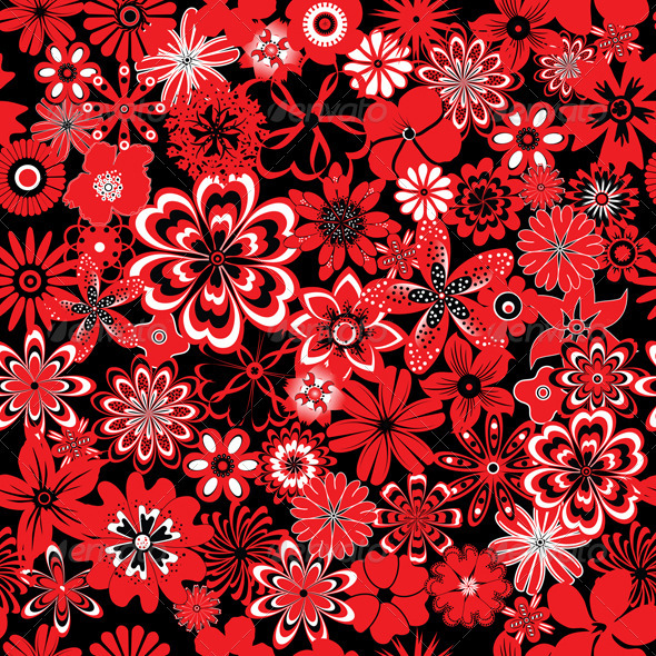 GraphicRiver Seamless Pattern with Red and Black Flowers 3841064