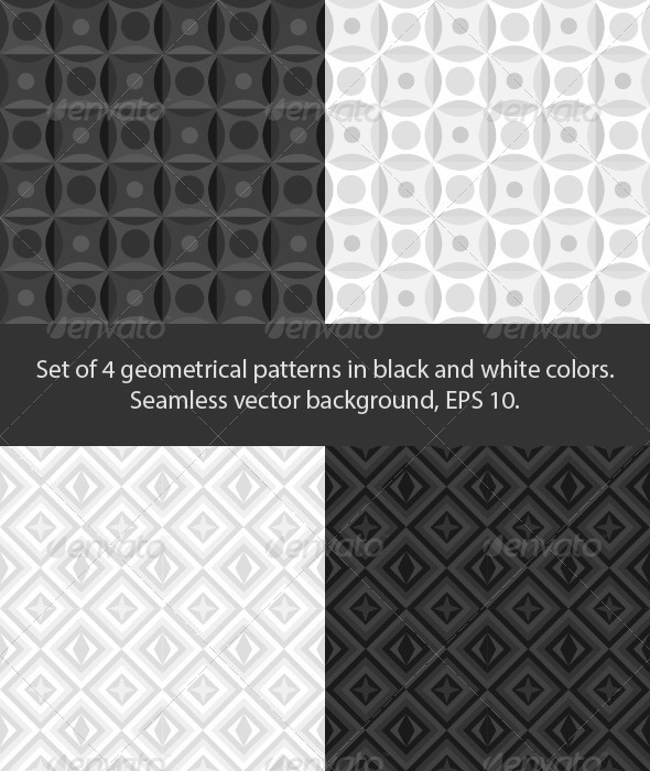 GraphicRiver Set of 4 black and white patterns 3841397