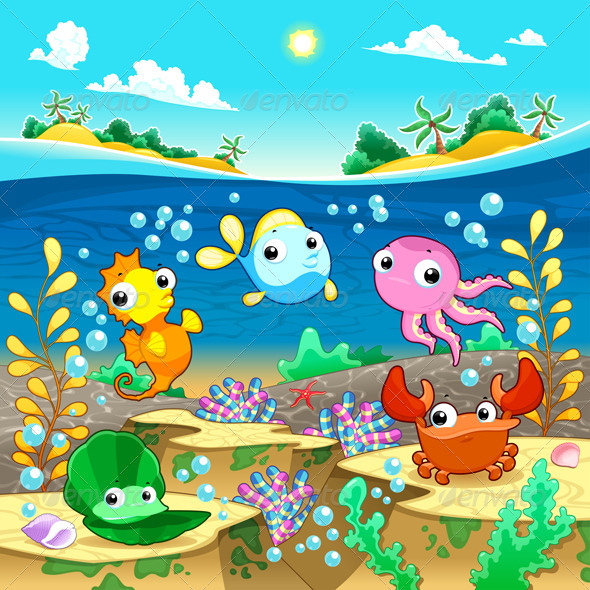 GraphicRiver Happy Marine Family Under the Sea 3841819