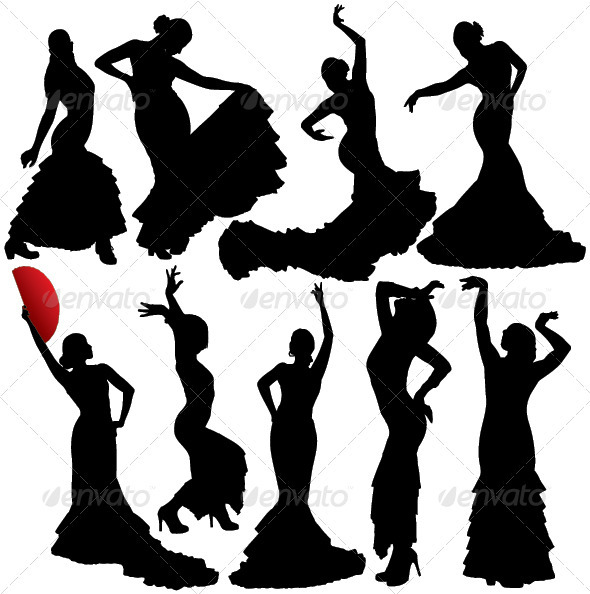 GraphicRiver Flamenco Vector Silhouettes 3842535