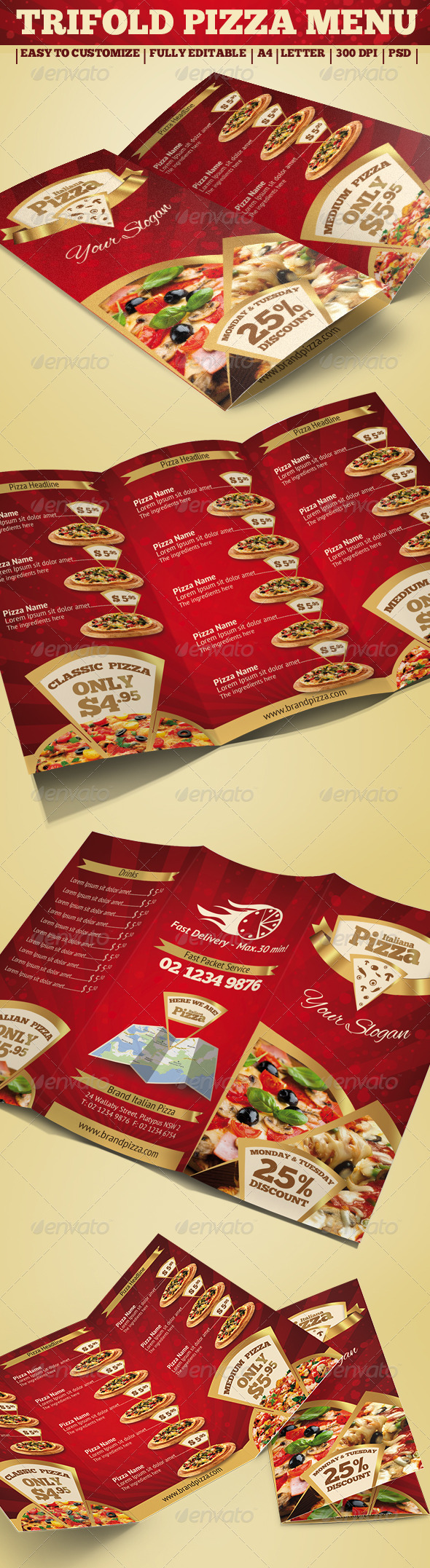 Trifold Brochure - Pizza Menu - Food Menus Print Templates