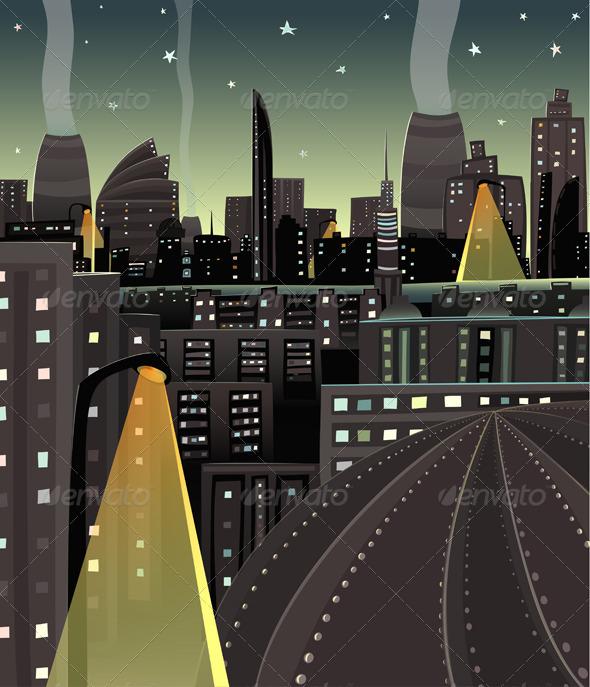 GraphicRiver Night Cityscape Cartoon 3846030