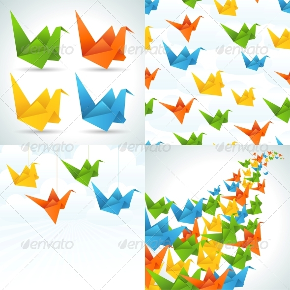 GraphicRiver Origami Paper Birds Backgrounds 3846116