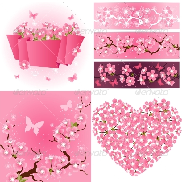 GraphicRiver Cherry Blossom Seamless Patterns Backgrounds 3846120