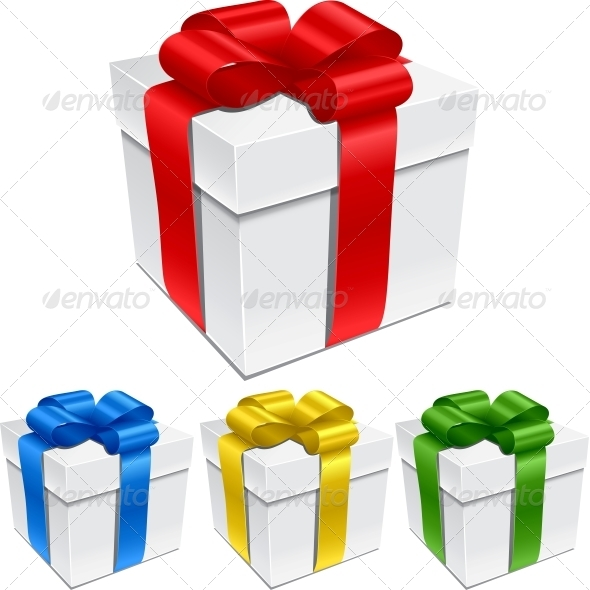 GraphicRiver Set of Gift Boxes with Bows and Ribbons 3846135