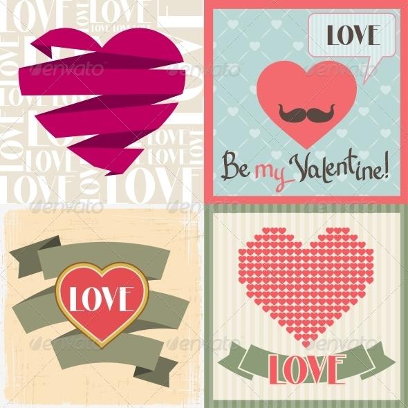 GraphicRiver Vintage Valentines Day Set of Cards 3846141