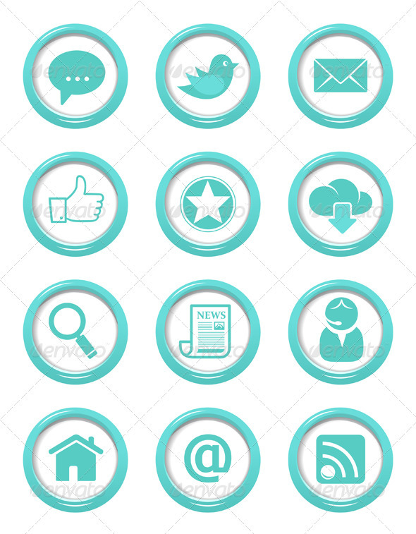 GraphicRiver Communication Buttons Blue Set 3846145
