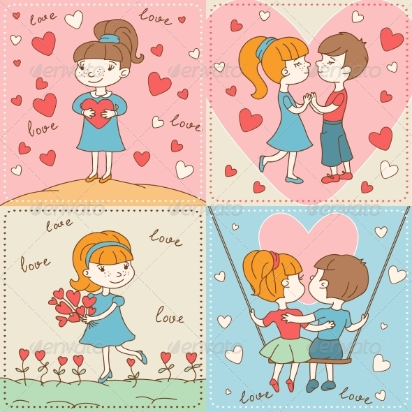 GraphicRiver Vintage Valentine s Day Card of Boys and Girls 3846165