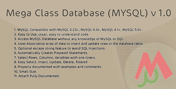 CodeCanyon Mega Class Database MYSQL v 1.0 3846333