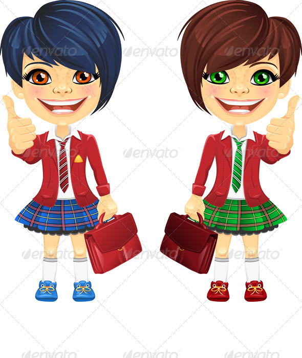 Vector Smiling Brunette Cute Schoolgirls - People Characters