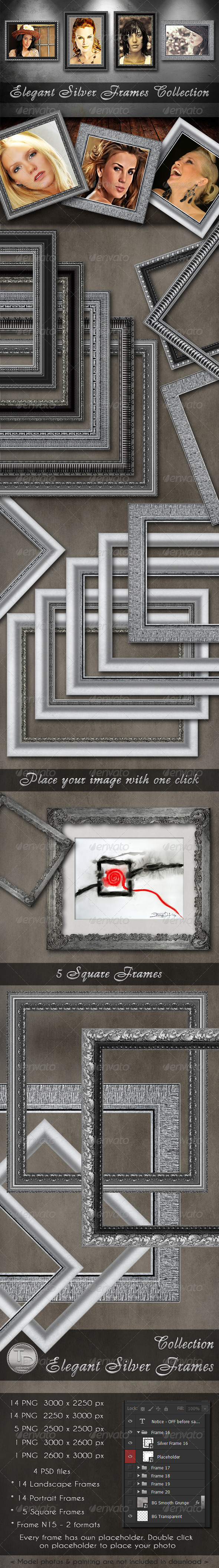 Elegant Silver Frames Collection - Miscellaneous Photo Templates