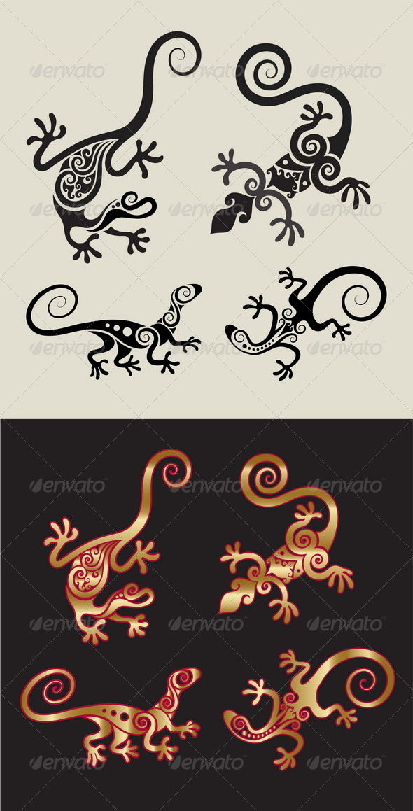 Lizard Ornament Symbols Set - Decorative Symbols Decorative