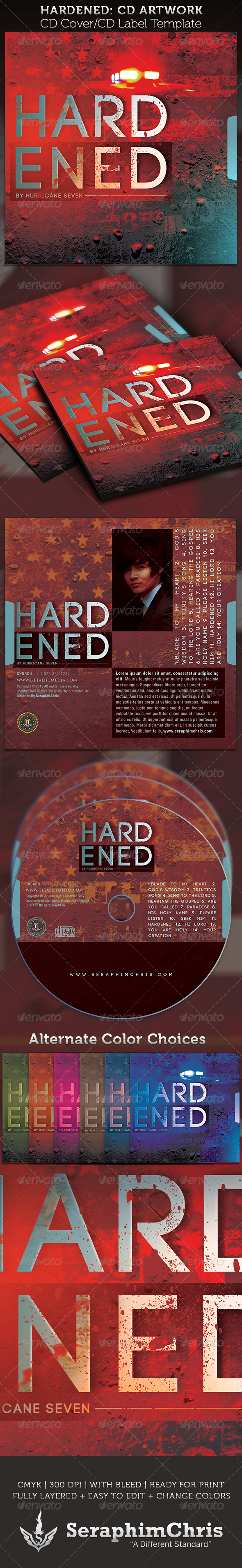 Hardened CD Cover Artwork Template - CD &amp; DVD artwork Print Templates
