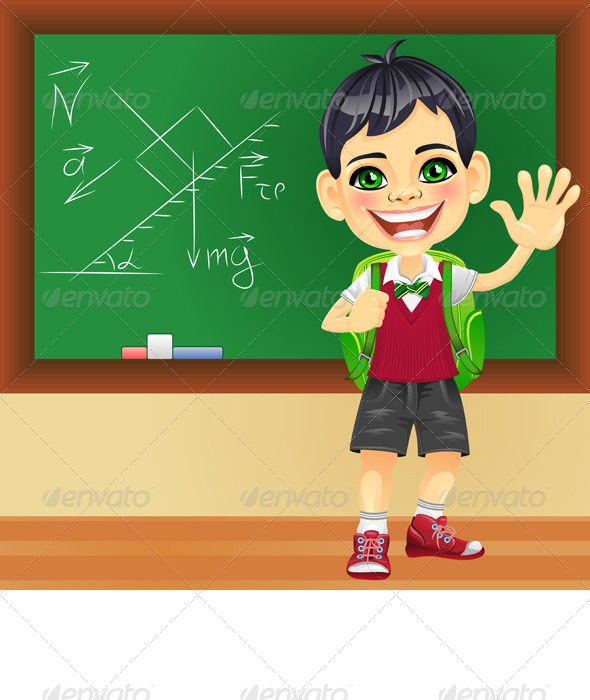 Vector Smiling Schoolboy near Blackboard - People Characters