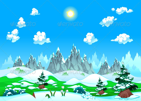 GraphicRiver Landscape with Snow and Mountains 3853323