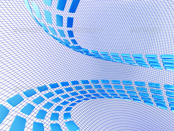 PhotoDune blue abstract cubes on the light netted background 3853804