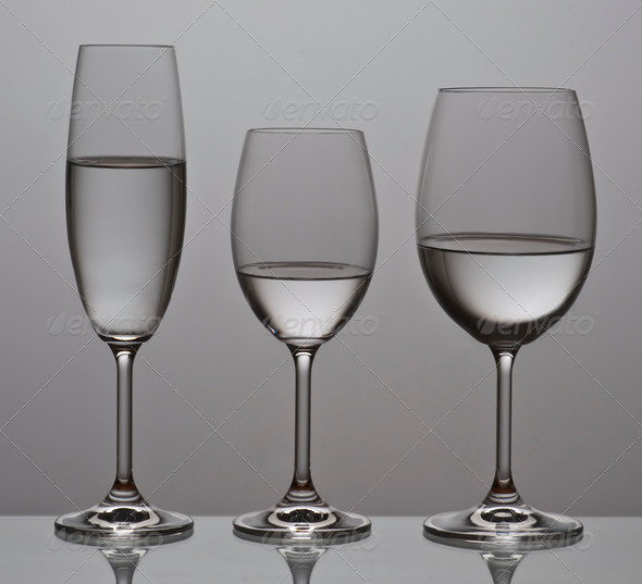 PhotoDune Bohemian crystal glasses filled with water; aligned backlit 3854138