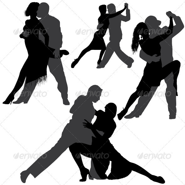 GraphicRiver Tango and Salsa Vector Silhouettes 3854172