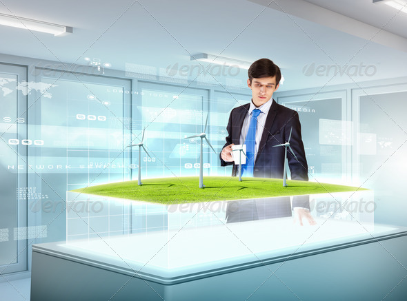 Environmental problems and high-tech innovations - Stock Photo - Images