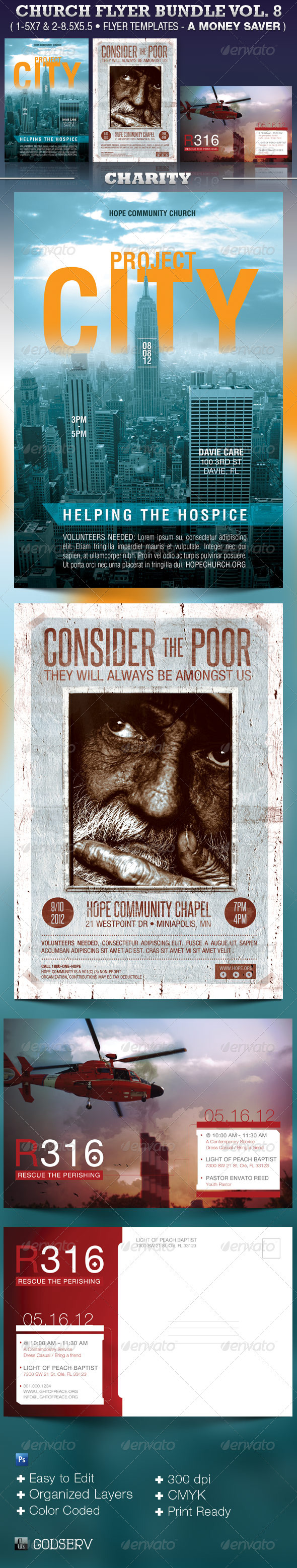 Church Flyer Template Bundle Vol 8 - Charity - Church Flyers