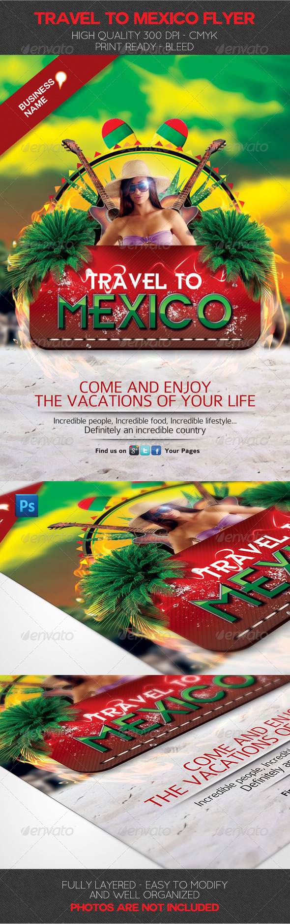 GraphicRiver Travel to Mexico Flyer Template 3746130