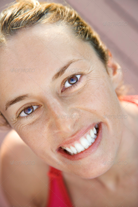 Close-up of smiling woman - Stock Photo - Images
