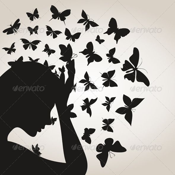 GraphicRiver Butterflies from a head4 3856511