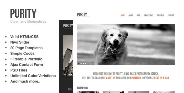 Purity: Clean, Minimal &amp; Bold Website Template - Creative Site Templates