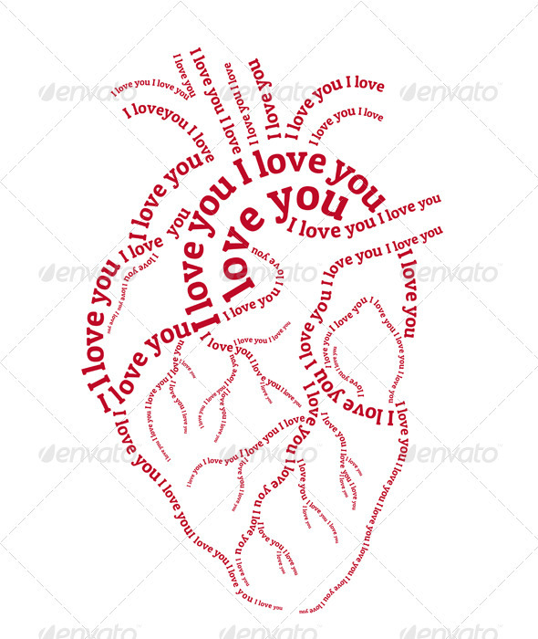 GraphicRiver Red Typography Heart Vector 3861031