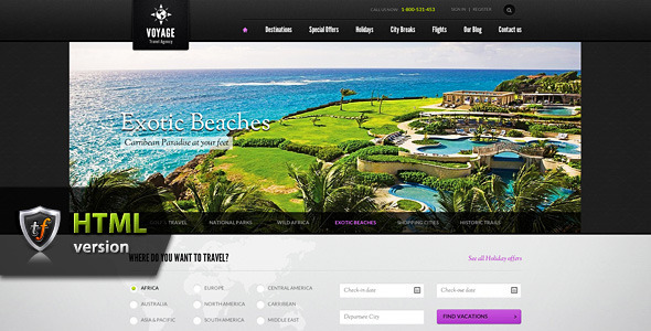 ThemeForest Voyage Travel Agency HTML Theme 3861879