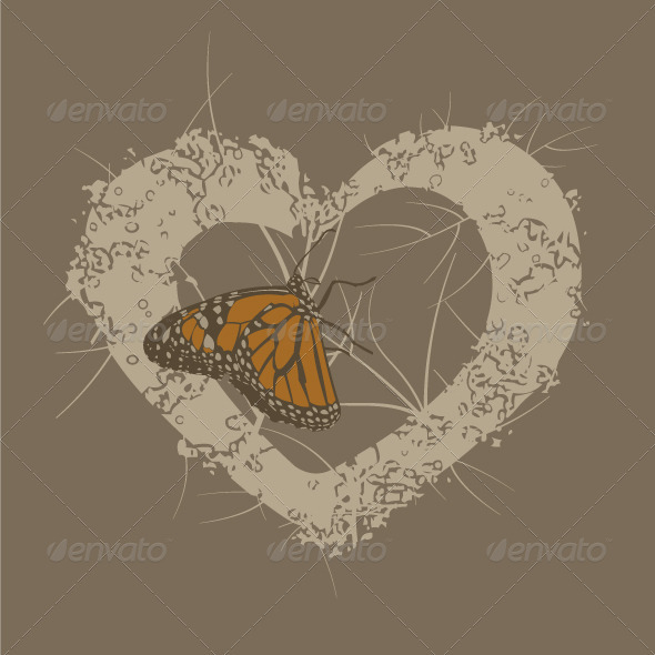 GraphicRiver Butterfly Heart Background 3862529