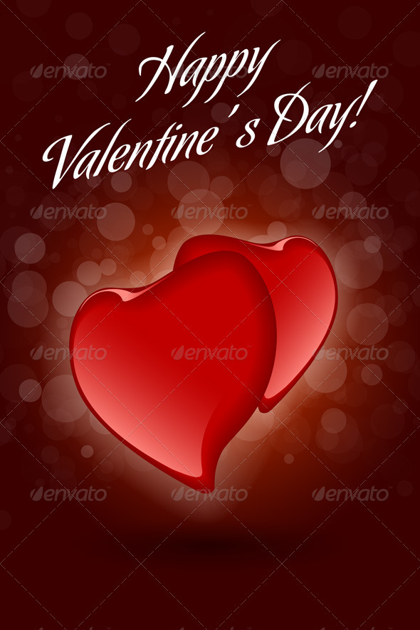 GraphicRiver Red Valentine Hearts on Dark Decorative Background 3863760