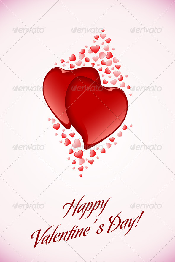 Red Valentine Hearts on Pink Background - Valentines Seasons/Holidays