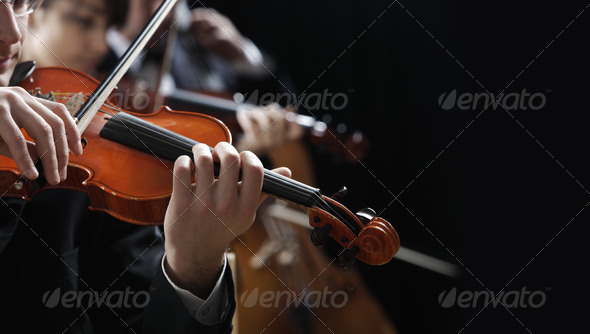 Classical music. Violinists in concert - Stock Photo - Images