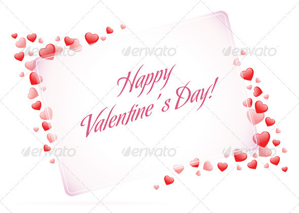 Happy Valentine's Day Card with Hearts - Valentines Seasons/Holidays