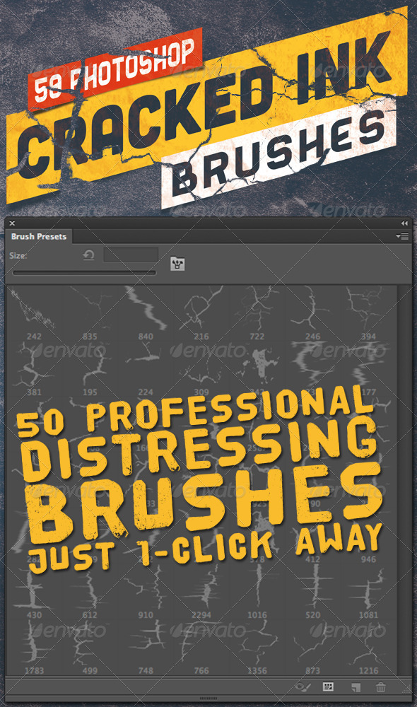 GraphicRiver 50 Photoshop Crack Grunge Distress Brushes 3864883