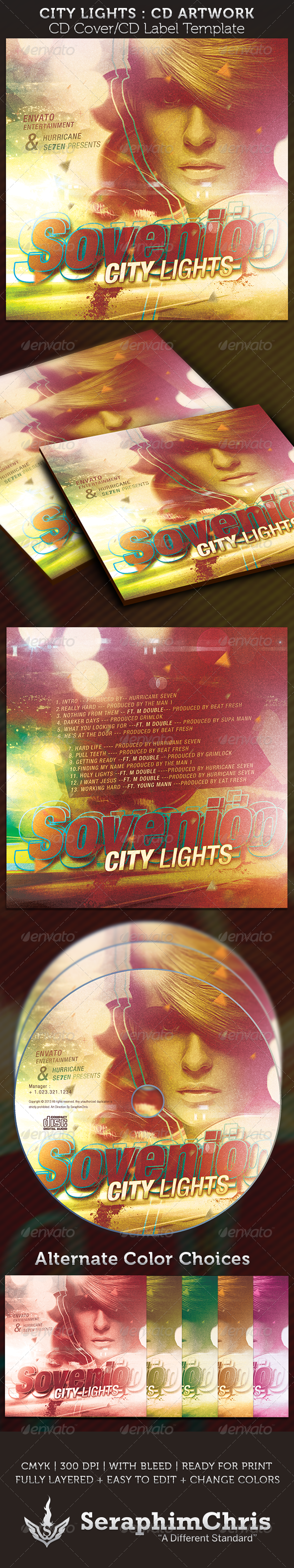 City Lights CD Cover Artwork Template - CD & DVD artwork Print Templates