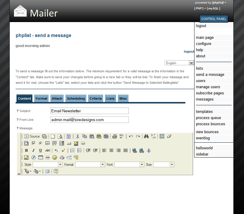 PHPList Mailer - Sleek Administrator Interface - Sleek blue, gray, and white theme. Notice the tabs and the web 2.0 effect.
