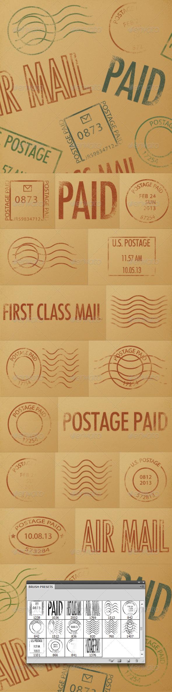 GraphicRiver Postmark Brushes 3869662