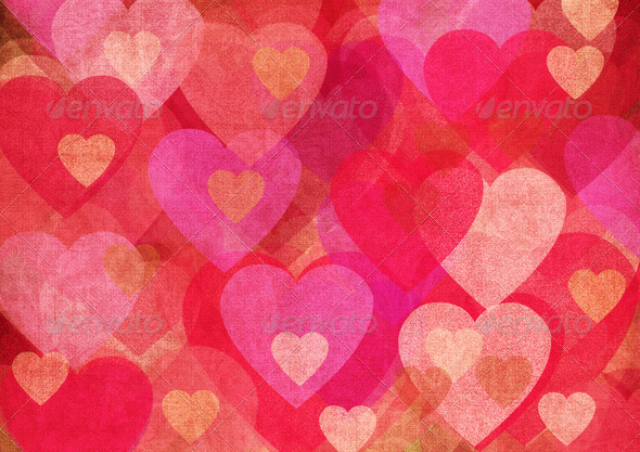 Grunge Valentine Hearts 1 - Stock Photo - Images