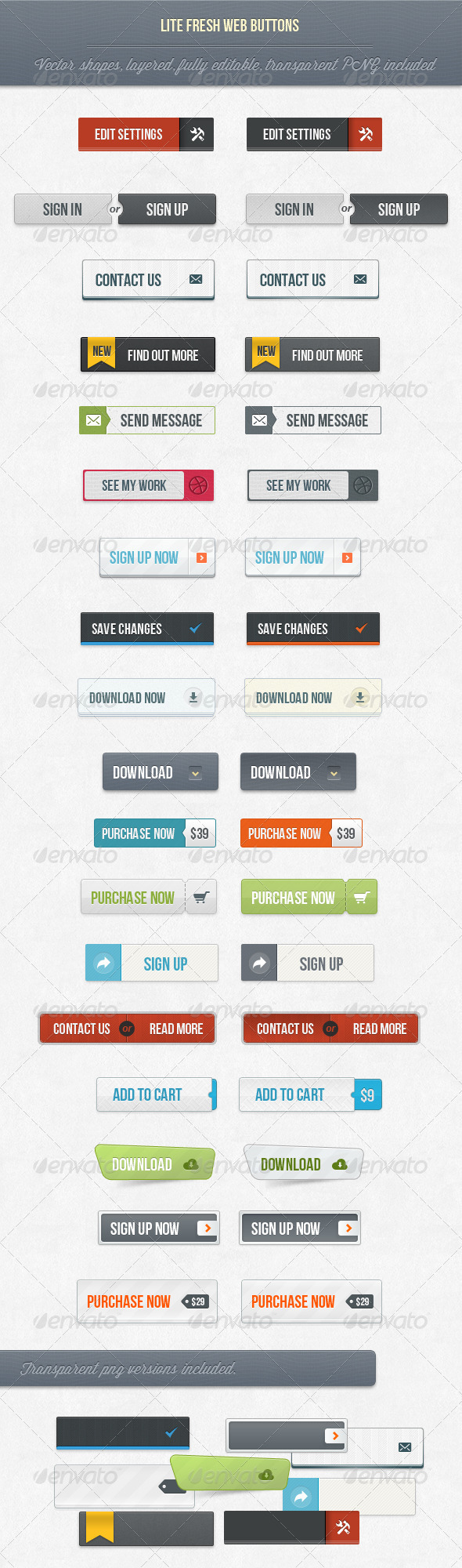 GraphicRiver 18 Lite Fresh Web Buttons 3869817