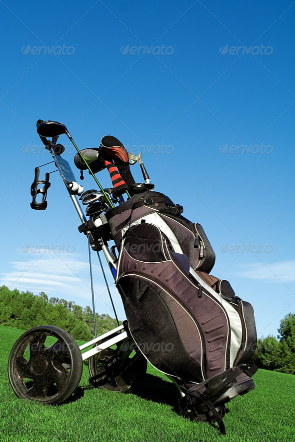 golf bag , golfing equipment - Stock Photo - Images