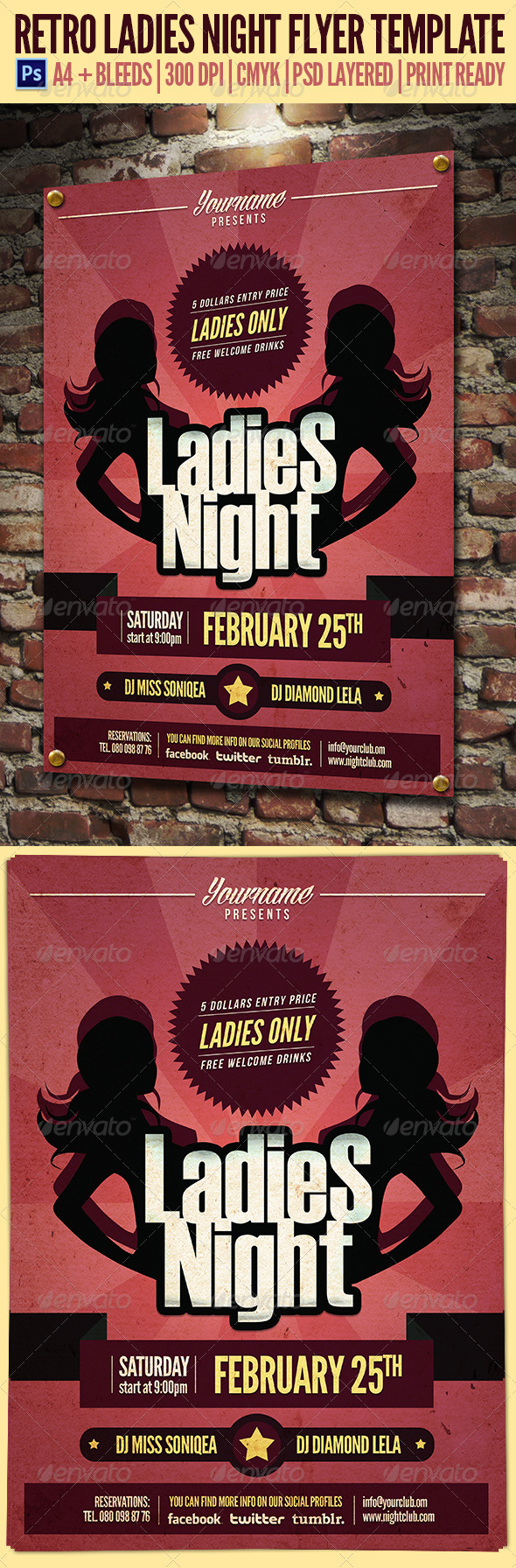 GraphicRiver Retro Ladies Night Flyer Template 3871330