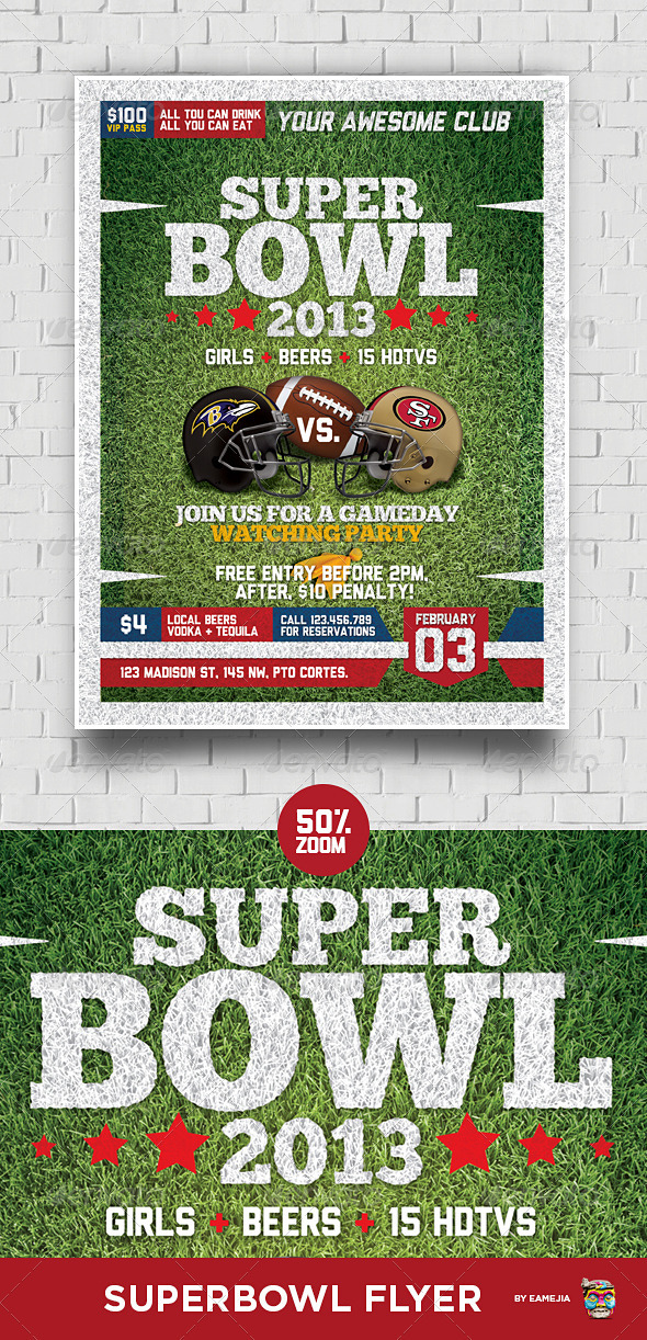 GraphicRiver Super Bowl Football Flyer 3793345